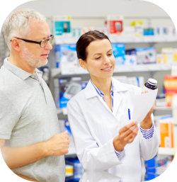 senior man talking to a pharmacist
