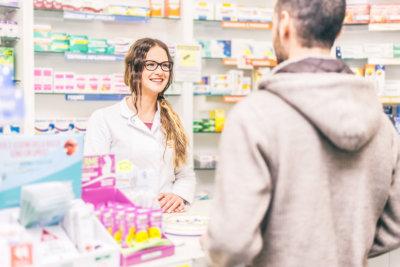 pharmacist and customer